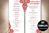 Red Wedding Program Template, Instant Download Microsoft with Free Event Program Templates Word