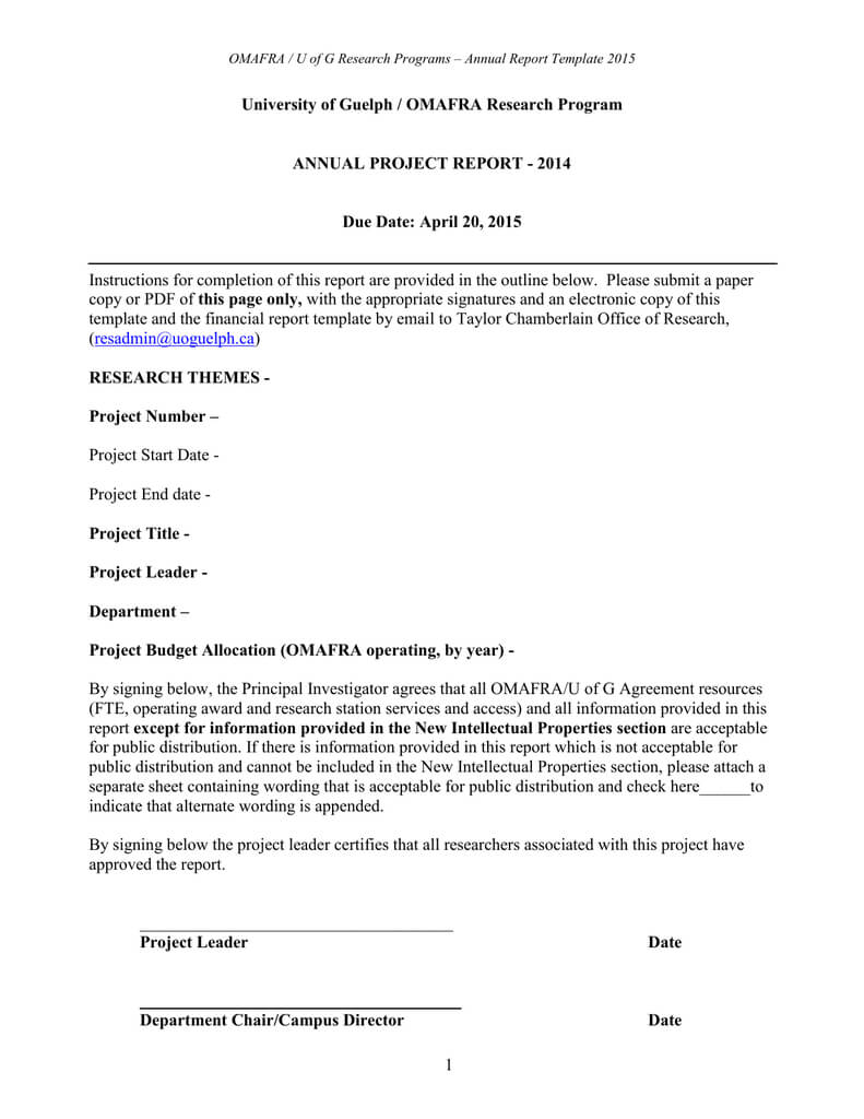 Report Template – University Of Guelph Inside Research Project Report Template