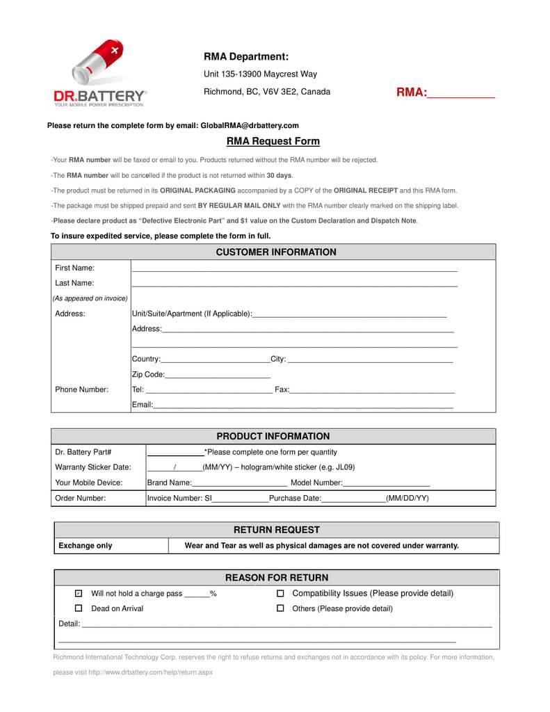Rma Department: Rma:       Rma Request Form For Rma Report Template