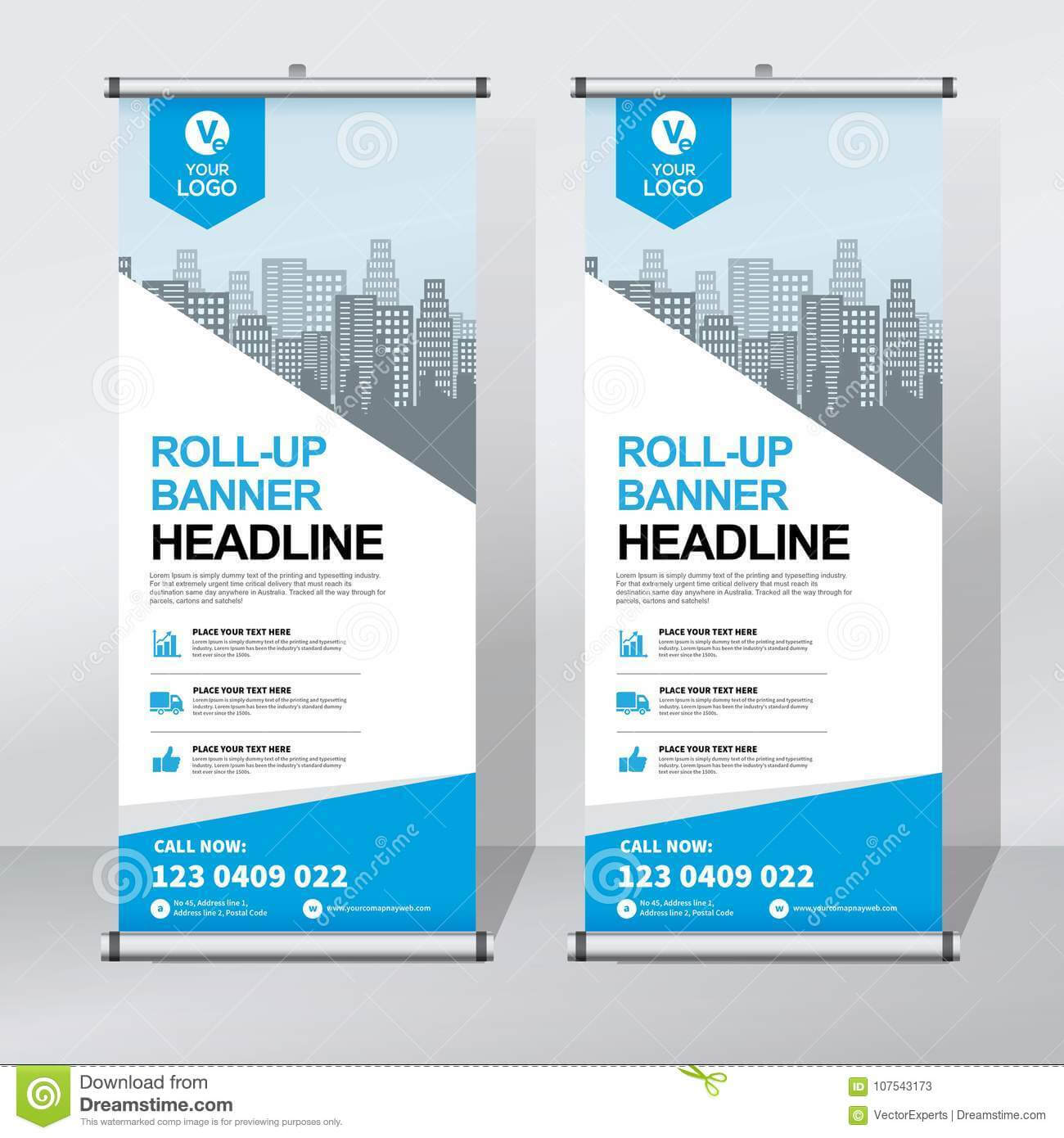 Roll Up Banner Design Template, Vertical, Abstract Intended For Retractable Banner Design Templates