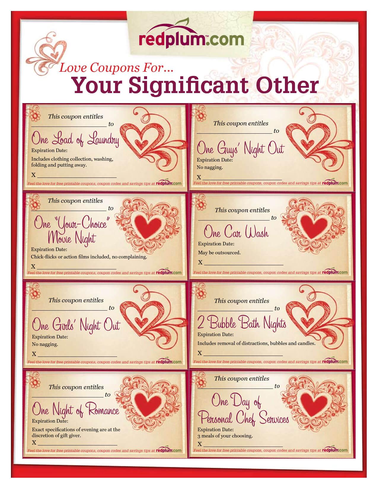 Romantic Love Coupon Template Printable | Love Coupons For In Love Coupon Template For Word