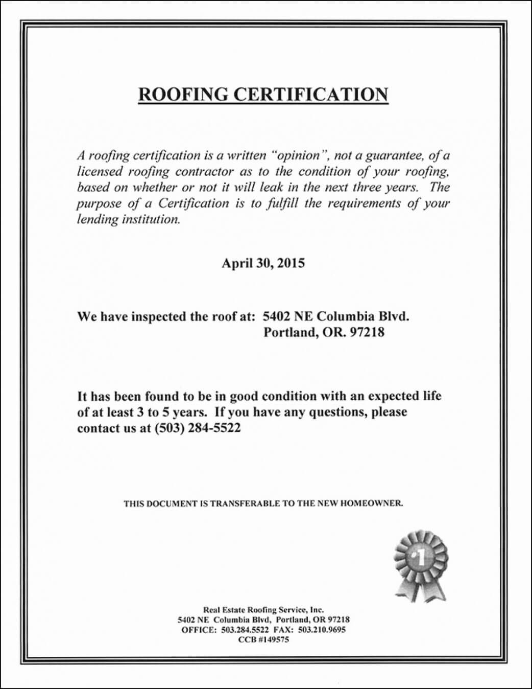 Roofing Certificate Of Completion Template Lovely Roof Intended For Roof Certification Template
