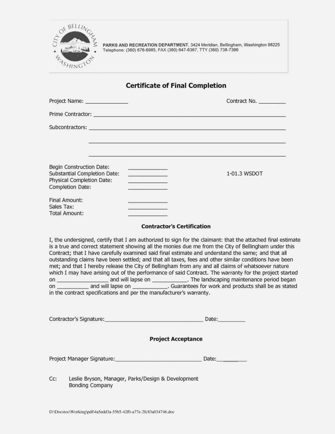 Roofing Certificate Of Completion Template - Zimer.bwong.co Throughout Certificate Of Completion Template Construction