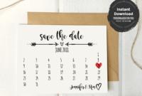 Rustic Save The Date Calendar Card Template | Save The Date pertaining to Save The Date Cards Templates