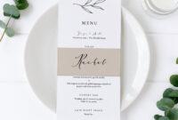 Rustic Wedding Menu Template, Place Card Template, Wedding with regard to Place Card Setting Template