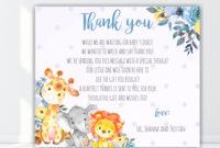 Safari Animal Boy Baby Shower Thank You Card, Thank You with regard to Thank You Card Template For Baby Shower