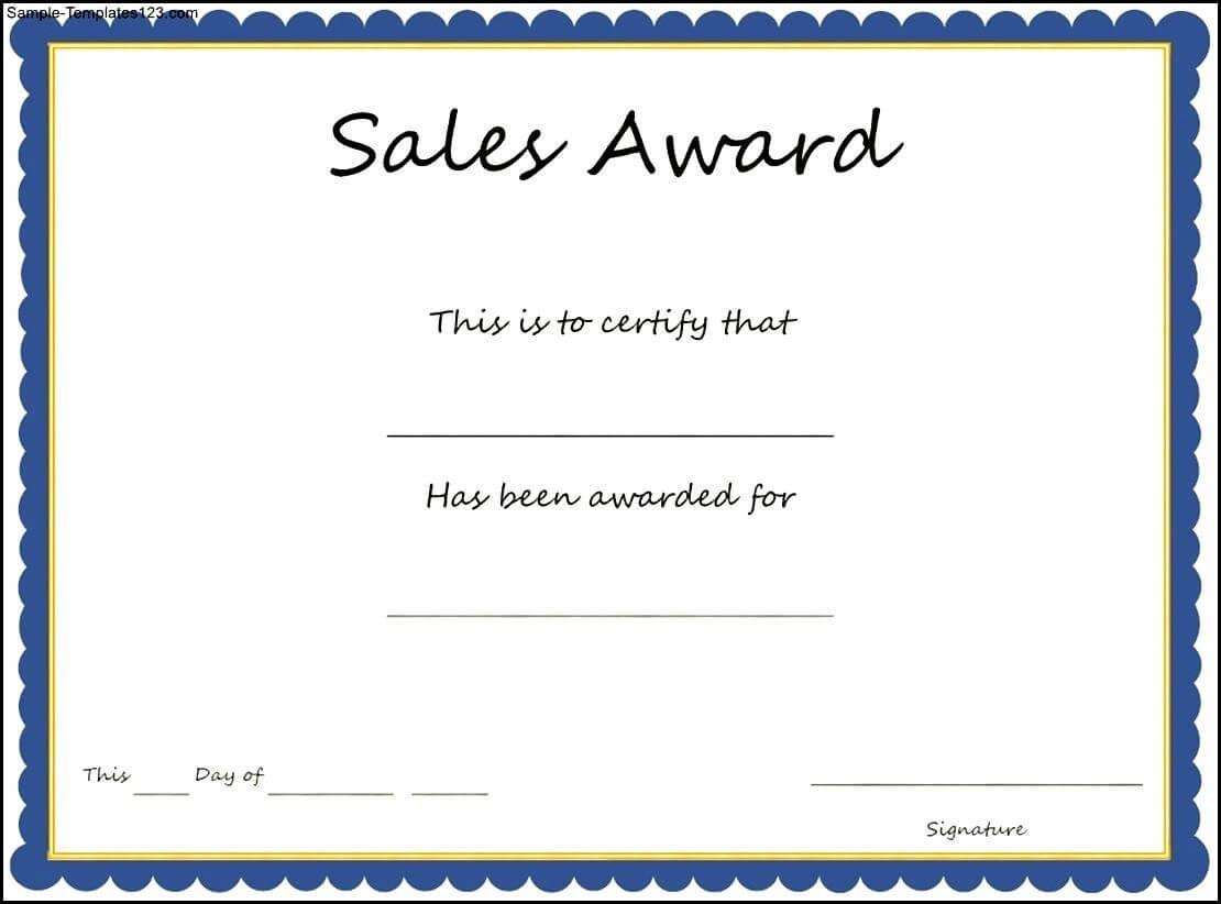 Sales Award Certificate Template - Sample Templates - Sample Intended For Sales Certificate Template