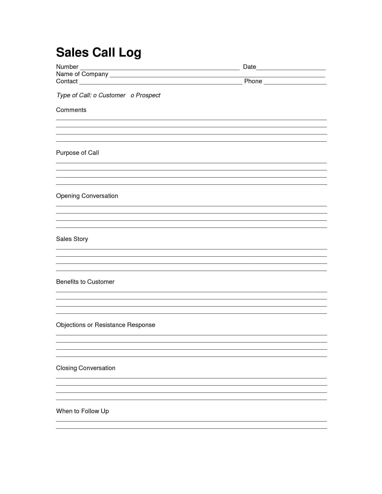 Sales Log Sheet Template | Sales Call Log Template | Sales Throughout Sales Call Reports Templates Free