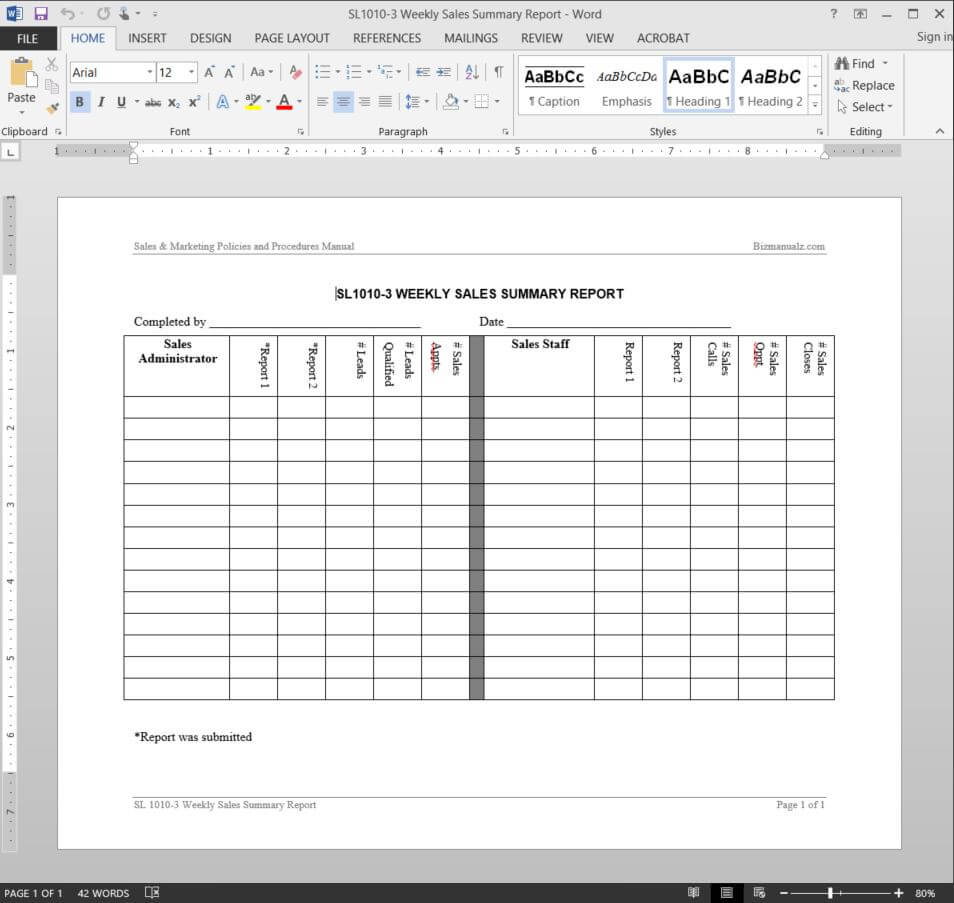 Sales Weekly – Forza.mbiconsultingltd With Regard To Manager Weekly Report Template