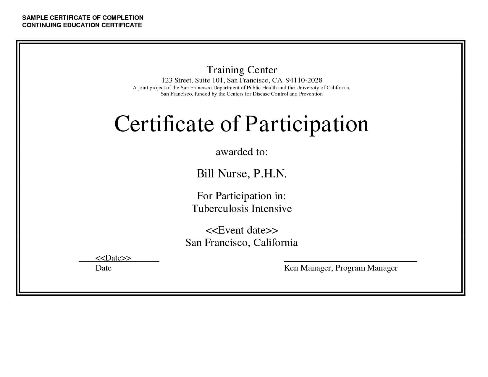 Sample Certificate Of Completion Continuing Education Intended For Continuing Education Certificate Template