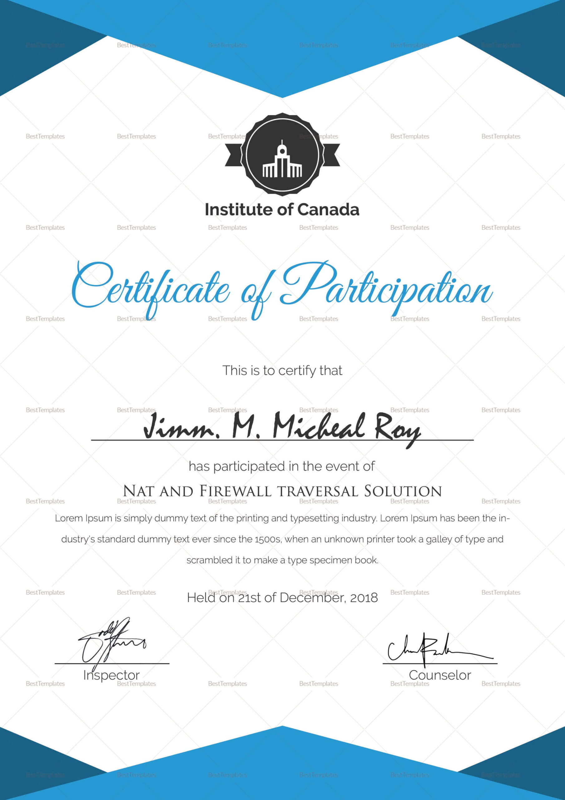 Sample Certificate Of Participation Template | Certificate Intended For Sample Certificate Of Participation Template