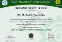Sample Certificates – Lean Six Sigma India for Green Belt Certificate Template