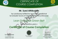 Sample Certificates – Lean Six Sigma India regarding Green Belt Certificate Template
