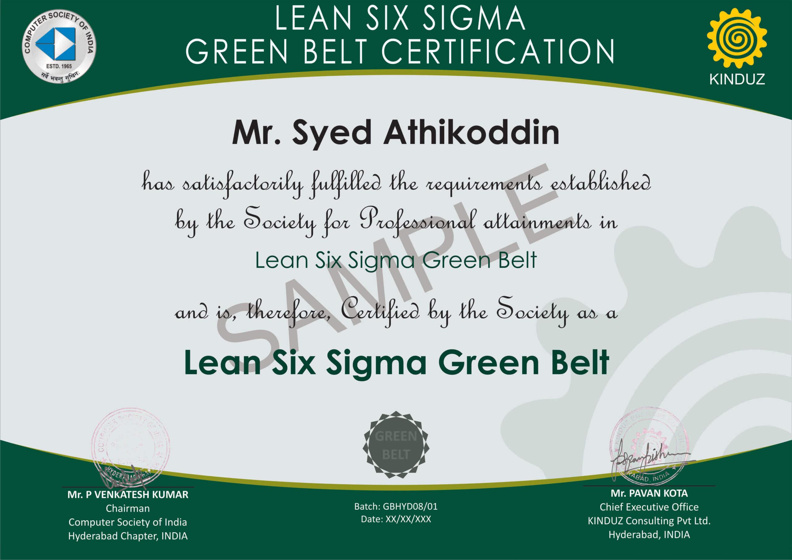 Sample Certificates - Lean Six Sigma India Throughout Green Belt Certificate Template