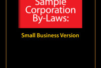 Sample Corporate Bylaws – Evergreen Small Business with Corporate Bylaws Template Word