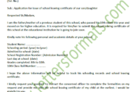 Sample Formal Letter To Principal For School Leaving Certificate With Regard To School Leaving Certificate Template