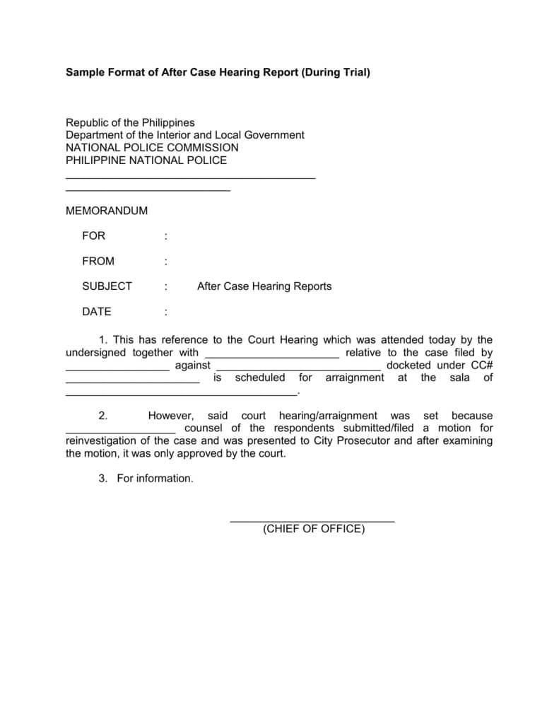 Sample Format Of After Case Hearing Report (During Inside Trial Report Template