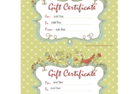 Sample Gift Certificate | Templates At Allbusinesstemplates with Homemade Gift Certificate Template