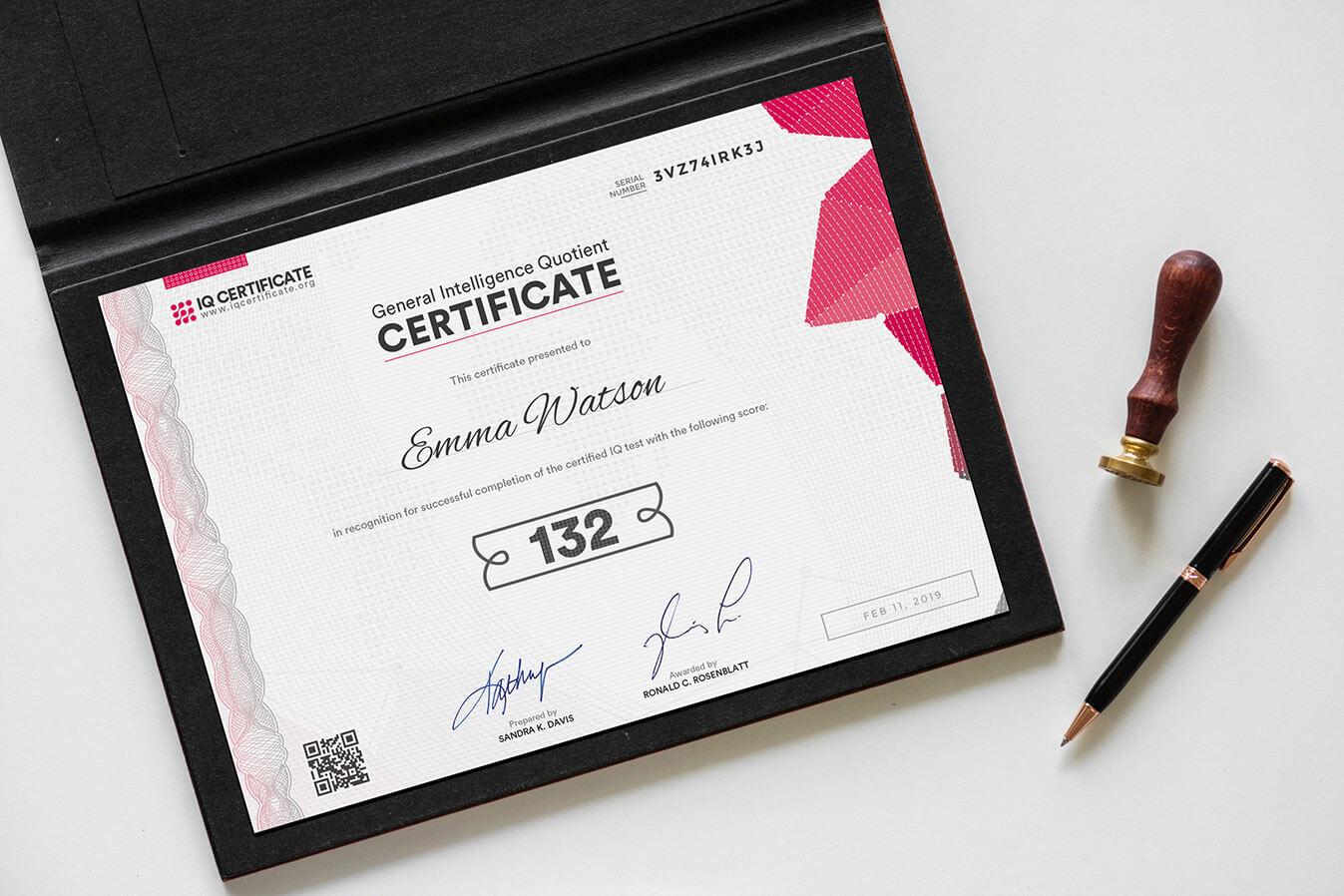 Sample Iq Certificate - Get Your Iq Certificate! Inside Iq Certificate Template