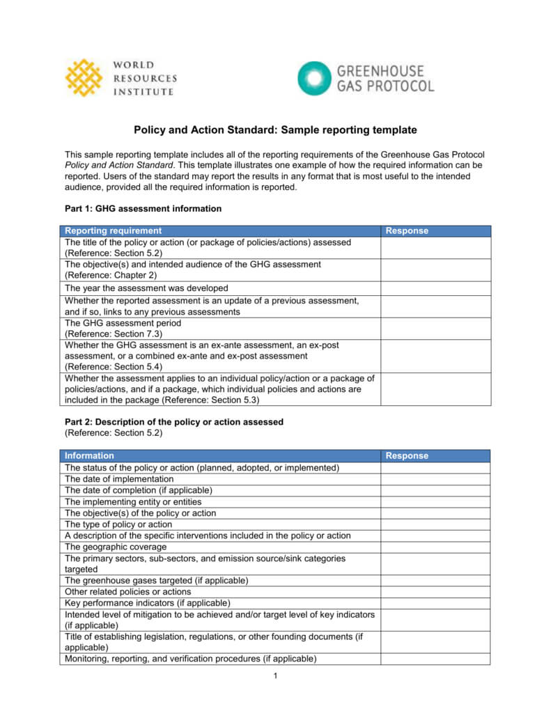 Sample Reporting Template Throughout Reporting Requirements Template