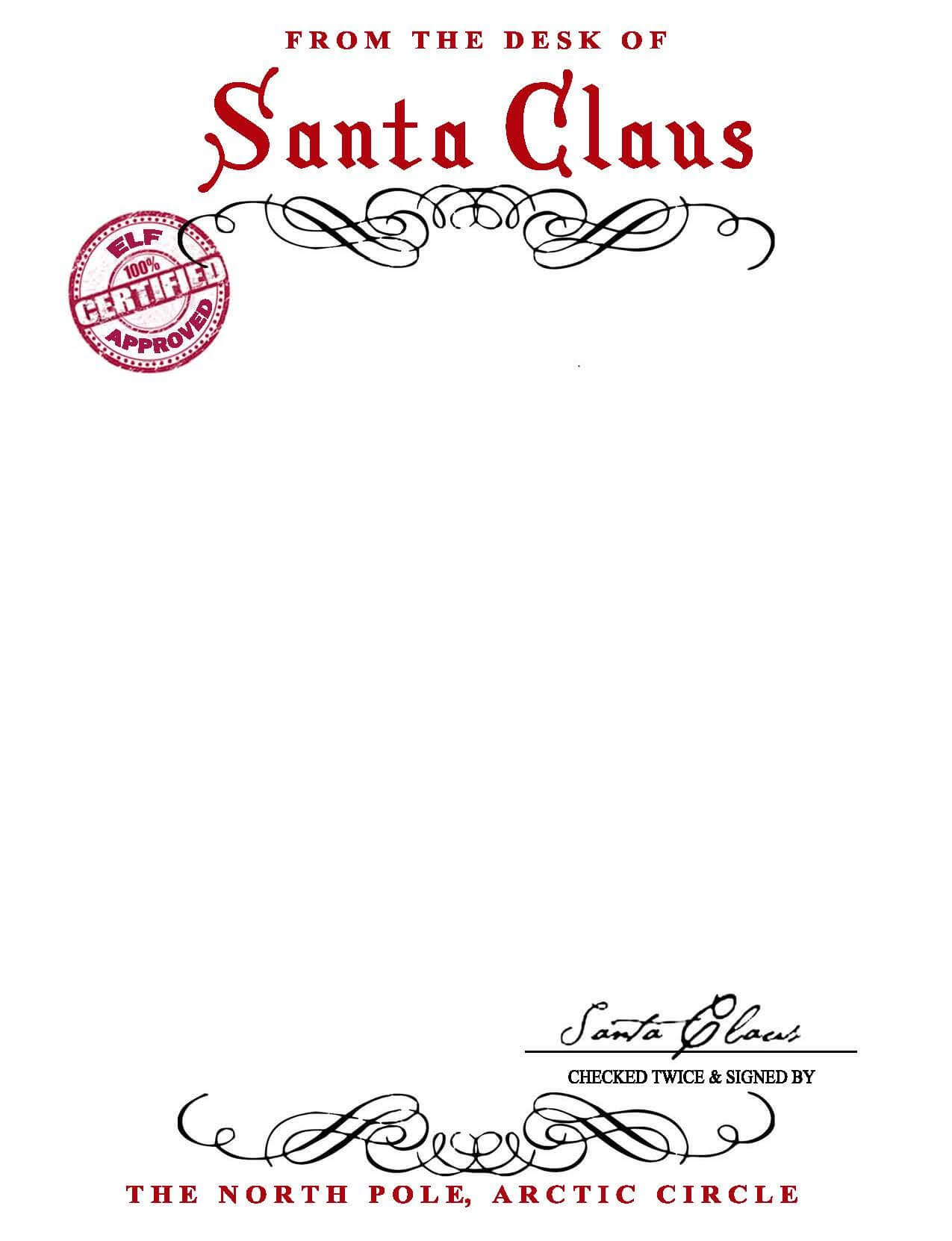 Santa Claus Letterhead.. Will Bring Lots Of Joy To Children Inside Santa Letter Template Word