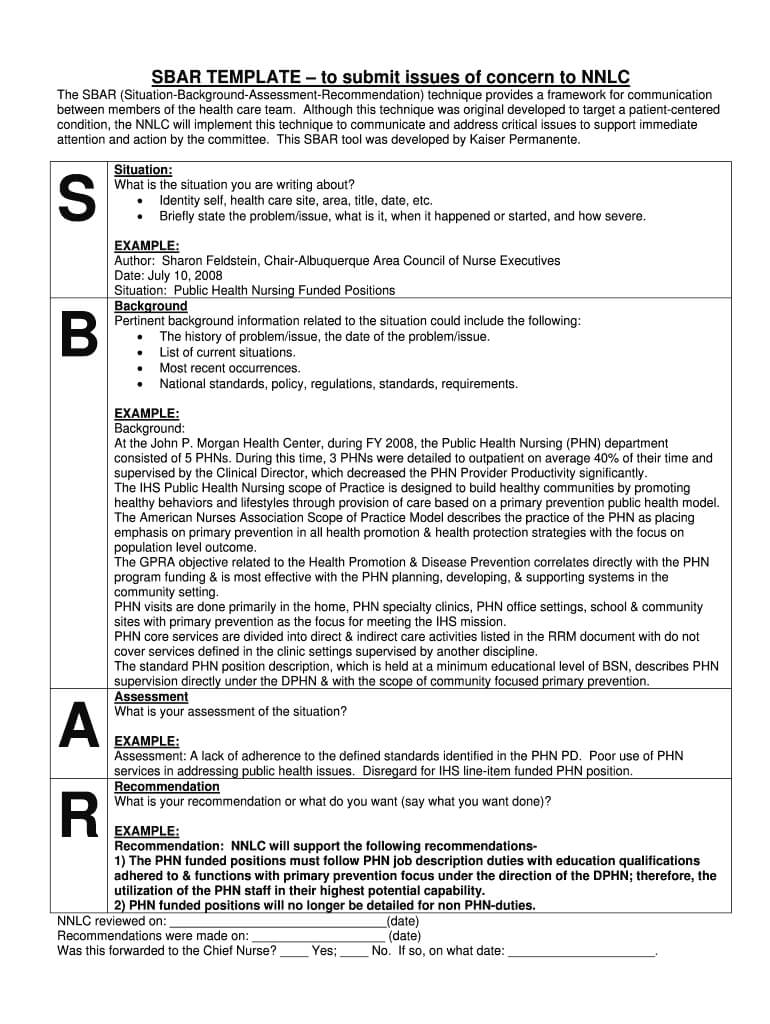 Sbar Template – Fill Online, Printable, Fillable, Blank With Regard To Sbar Template Word