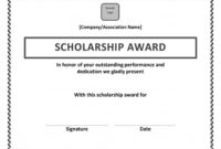 Scholarship Award Certificate Template | Certificate inside Present Certificate Templates