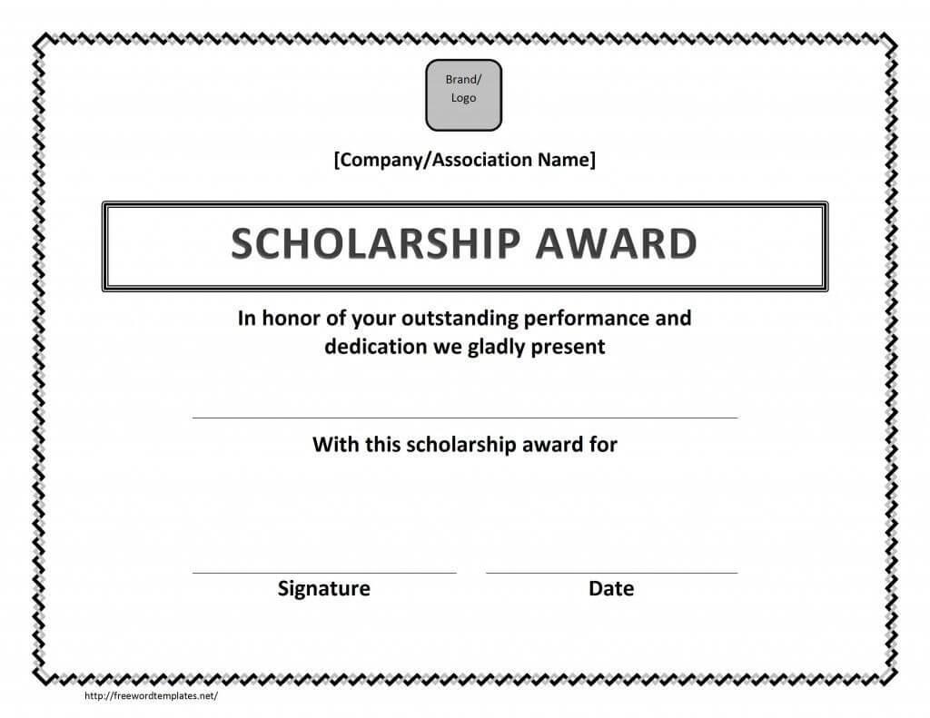 Scholarship Award Certificate Template | Certificate Within Scholarship Certificate Template Word