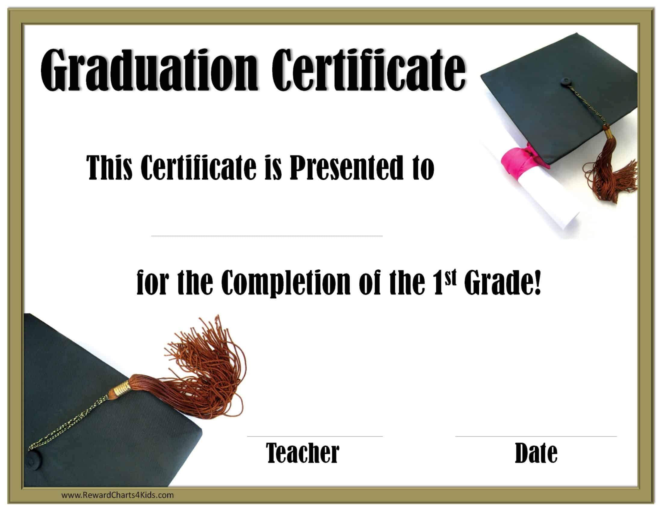 School Graduation Certificates | Customize Online With Or In 5Th Grade Graduation Certificate Template