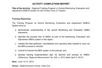 School Monitoring, Evaluation And Adjustment- Activity inside Monitoring And Evaluation Report Template