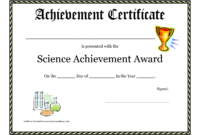 Science Fair Award Certificate Award Certificate Download with Certificate Of Achievement Template For Kids