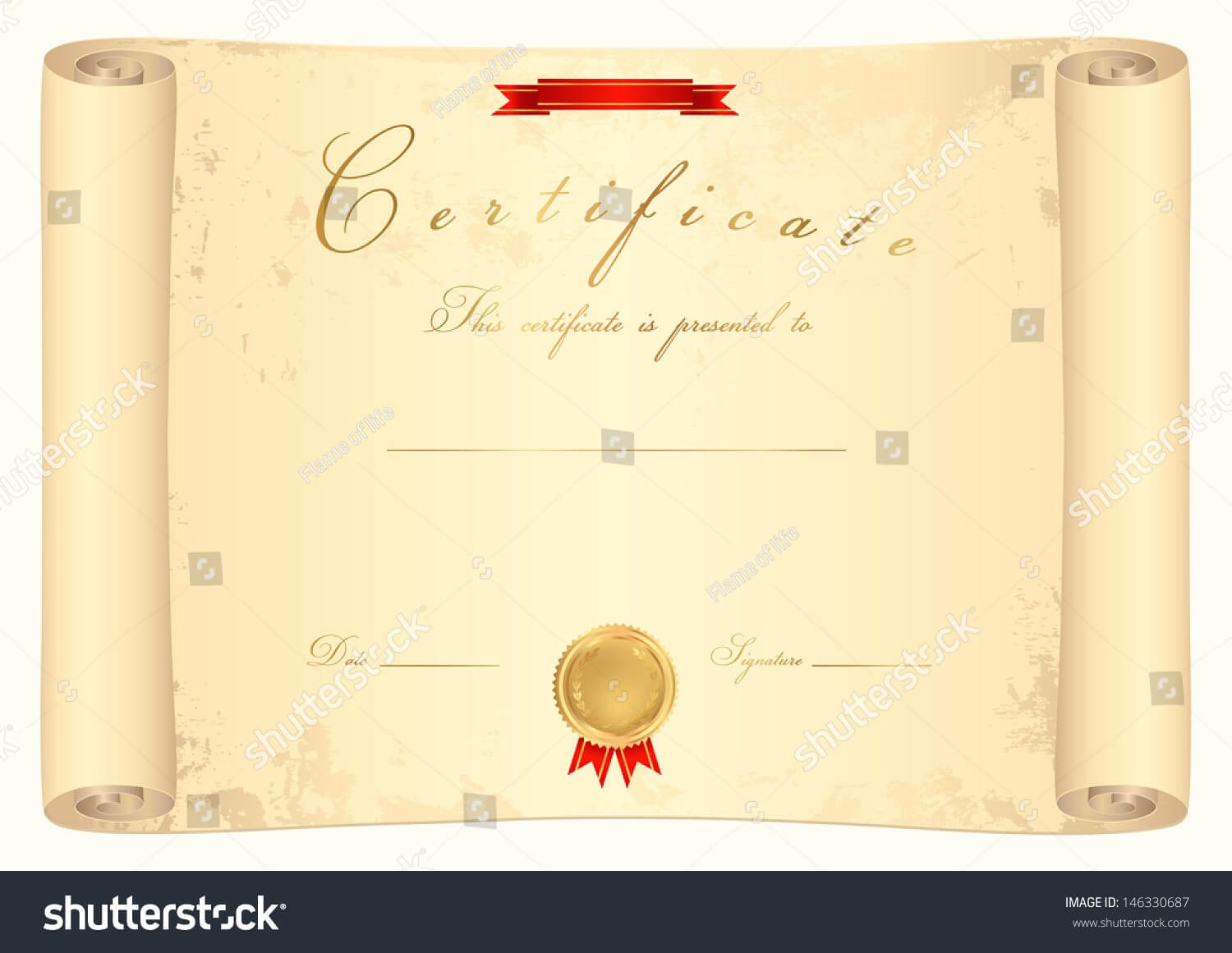 Scroll Certificate Completion Template Sample Background Regarding Certificate Scroll Template