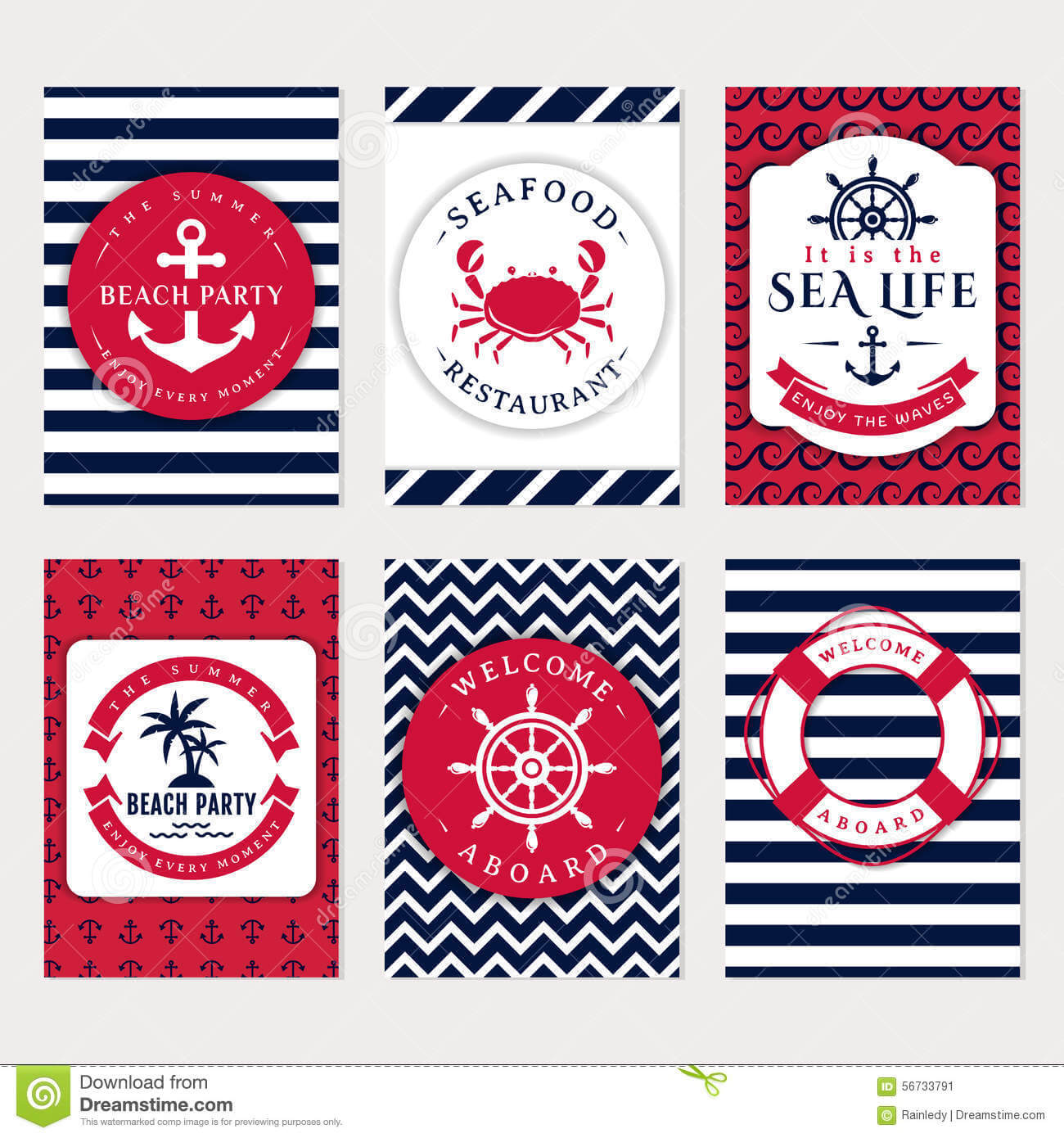 Sea Banners. Vector Card Templates. Stock Vector Within Nautical Banner Template