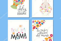 Set Mothers Day Cards Templates Hand Written Lettering with regard to Mothers Day Card Templates