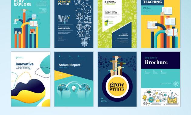 Set Of Brochure Design Templates Of Education within Brochure Design Templates For Education