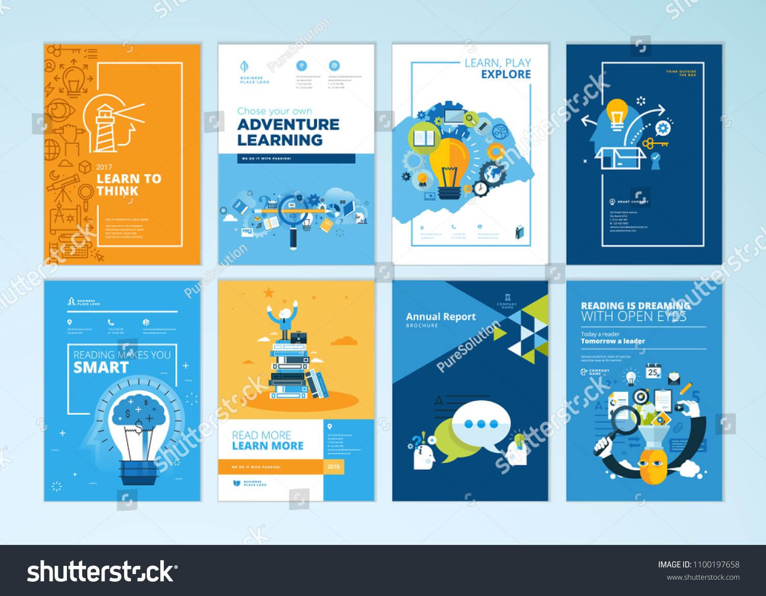 Set Of Brochure Design Templates On The Subject Of Education With Regard To Brochure Design Templates For Education