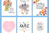 Set Of Mother's Day Cards Templates With Quotes In Portuguese throughout Mothers Day Card Templates