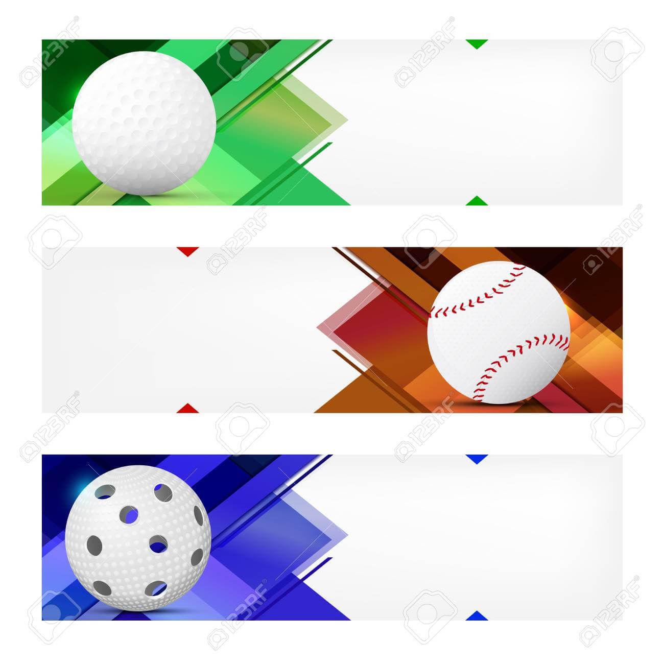 Set Of Sport Banner Templates With Ball And Sample Text In Separate.. Regarding Sports Banner Templates