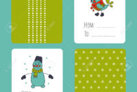 Set Of Winter Small Card Templates. Collection For Christmas.. with Small Greeting Card Template
