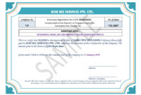 Share Certificate In Singapore ~ Achibiz for Template Of Share Certificate