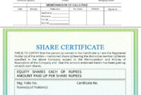 Share Certificate – Indiafilings with Shareholding Certificate Template