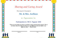 Sharing And Caring Award – Participation In Mca Pageant 2018 with Pageant Certificate Template