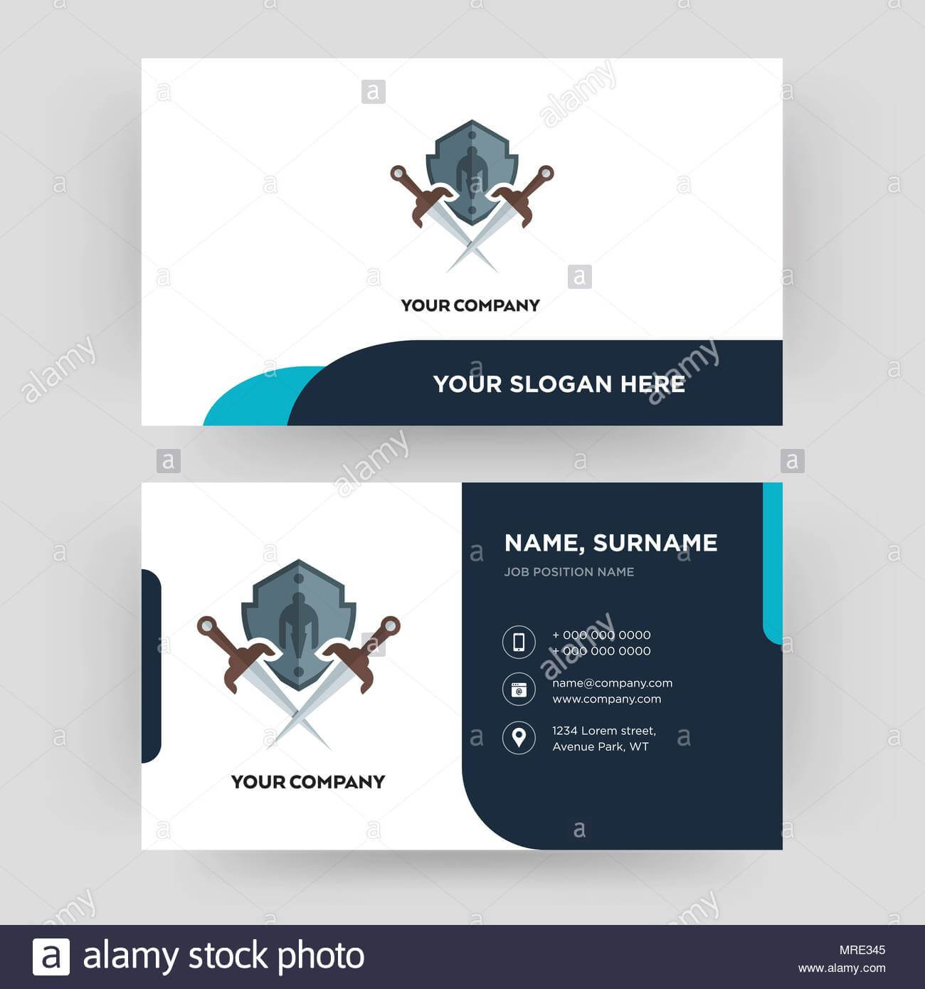 Shield And Sword, Business Card Design Template, Visiting Regarding Shield Id Card Template