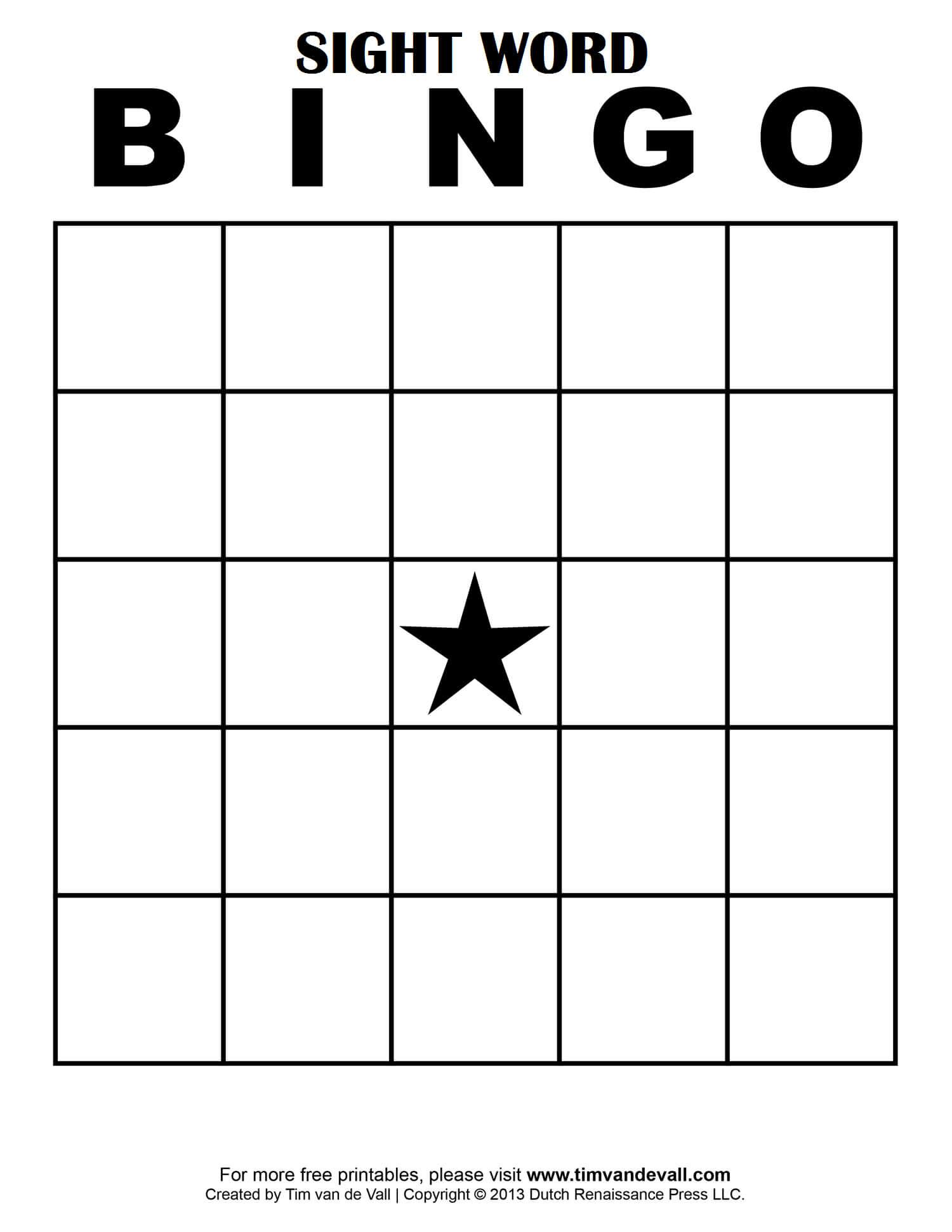 Sight Word Bingo … | Bingo Card Template, Free Printable In Blank Bingo Template Pdf