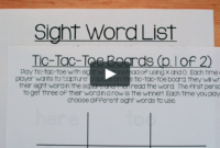 Sight Word Tic-Tac-Toe throughout Tic Tac Toe Template Word