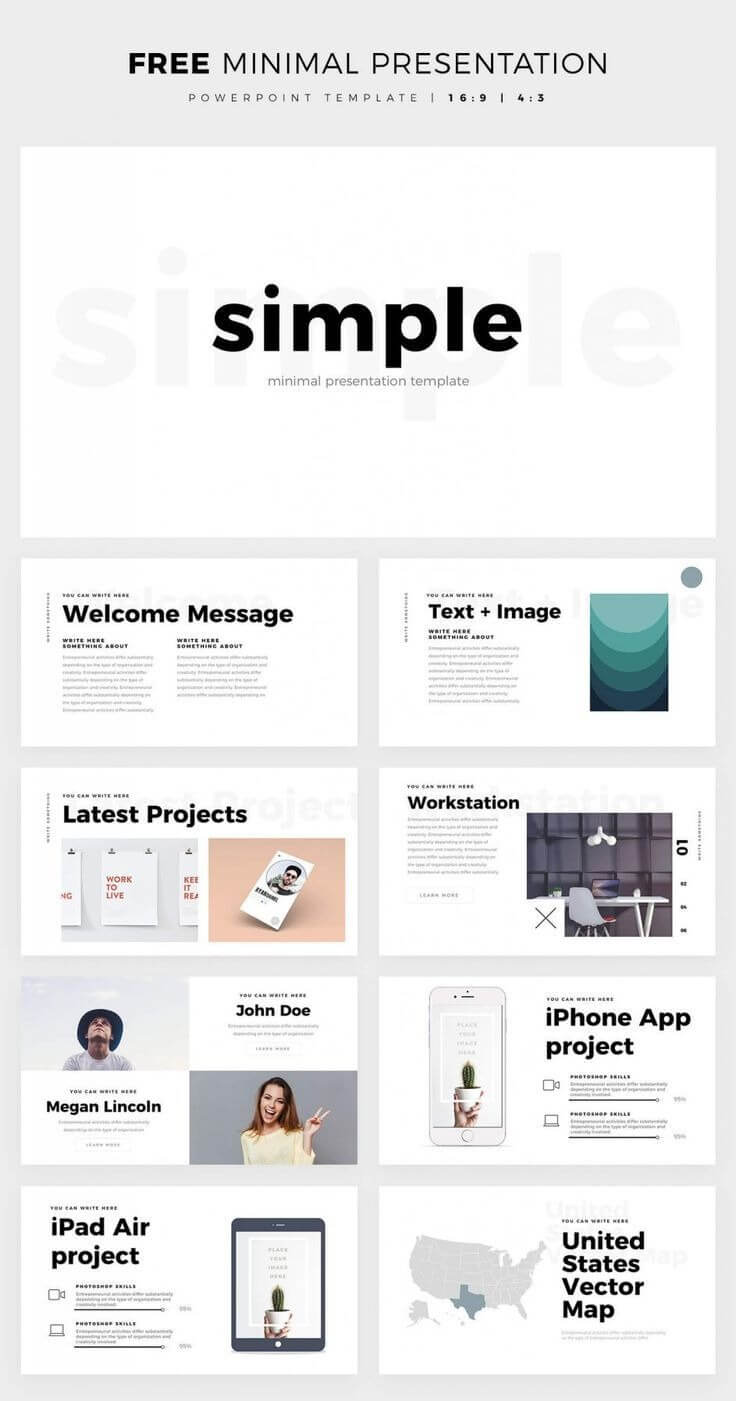 Simple And Clean Powerpoint Template – Free Ppt Theme Throughout Powerpoint Slides Design Templates For Free