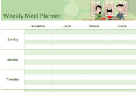Simple Meal Planner for Blank Meal Plan Template
