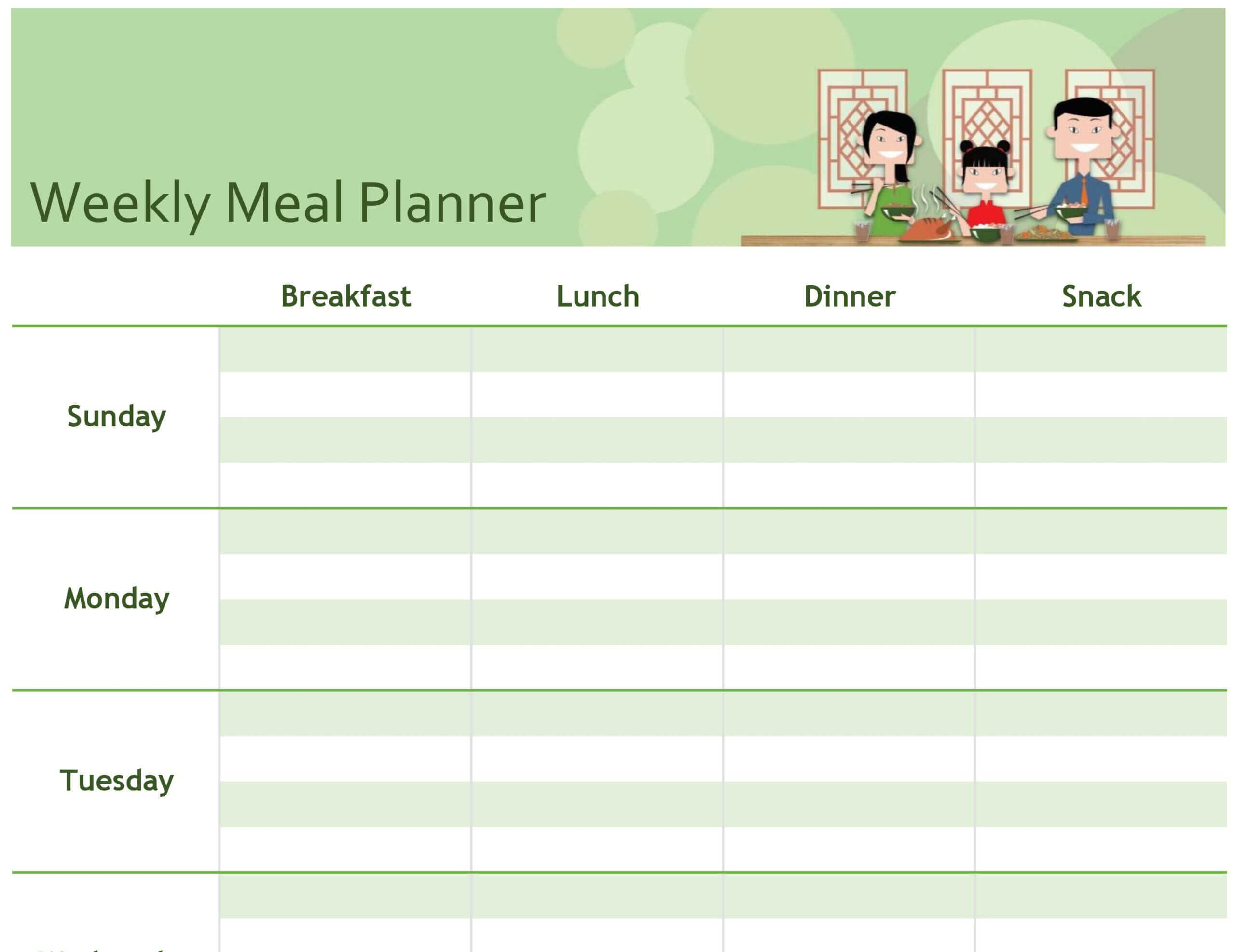 Simple Meal Planner With Meal Plan Template Word
