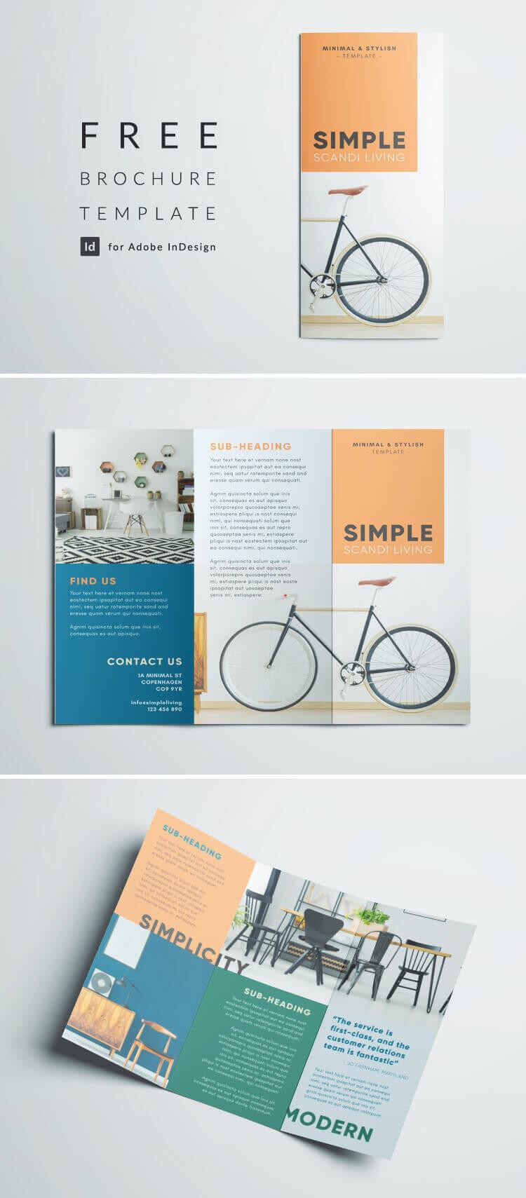 Simple Tri Fold Brochure | Free Indesign Template With Indesign Templates Free Download Brochure