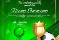 Soccer Certificate Diploma With Golden Cup Vector. Football pertaining to Soccer Certificate Template
